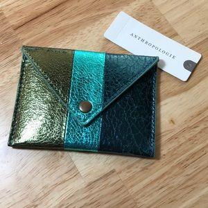Anthropologie Elle Metallic Card Holder • BLUE •
